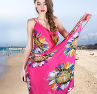 Wholesale Bikini Sarong Wrap - Chiffon Beach Dress Smock Wrap Bohemian Bikini Cover Ups Sarong Braces Skirt Sunscreen Shawl Backless Beachwear Swimsuit Swimdress Scarf