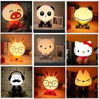 Wholesale Rabbit Lamps - 2016 new style cartoon animal bear dog kung fu panda rabbit cute night light sleeping lamp gifts for baby room
