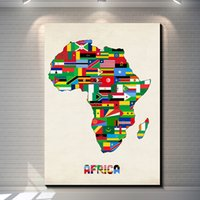 Wholesale african art wall decor - Vintage African Countries Flags Pictures Painting Canvas Poster Painting Print Hotel Bar Garage Living Room Wall Home Art Decor Poster