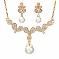 Wholesale Twisted Pearl Rhinestone Necklace - Gold Plated angle wing Drop Cream Pearl and Rhinestone Crystal Bridal Necklace and earrings Jewelry Set wedding jewelry set