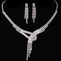 Wholesale Cheap Rhinestone Bridal Sets - 2017 New Arrival Hot Sale Women Fashion Bridal Rhinestone Crystal Drop Necklace Earring Plated Jewelry Set Wedding Cheap Free Shipping