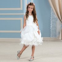 Wholesale White Knee Length Frocks - 2017 Cute White Lace Tutu Flower Girl Dresses Knee Length Ivory Holy Communion Dress Girls Pageant Wedding Party Gowns Frock Designs