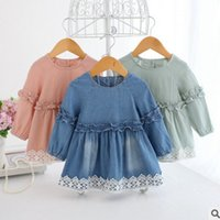 Wholesale Girls Jeans Embroider - Infant jeans dresses baby girls ruffle denim single breasted dress Newborn floral embroidery lace princess dress baby cotton clothing T5011