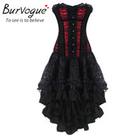 Wholesale Gothic Corset Top Dress - Wholesale-Burvogue New Women Sexy Waist Training Corsets And Bustier Top Gothic Corset Dress Slimming Overbust Corselet Waist Trainer