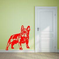 Wholesale Bulldog Vinyl - Cutom Color FRENCH BULLDOG DOG vinyl wall art sticker decal living Room Sticker Muraux Animal Wallpaper Home Decor Mural 57*58 cm