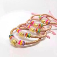 Wholesale White Hetian Jade - HelloKitty Charm Bracelets Hetian jade bead real gold lucky rope for woman and children