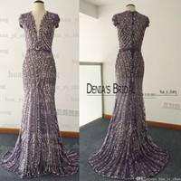 Wholesale Maternity Capes - Real Image 2017 Sheer Evening Dresses Deep V Neck Major Beading Crystal Cape Sleeves Mermaid Tulle Under Lace Evening Gowns Dhyz 01