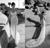 Wholesale spaghetti open back wedding dress - Gali Karten 2018 Sheath Full Lace Wedding Dresses Sexy Spaghetti Straps Open Back Sheer Bridal Gowns Court Train
