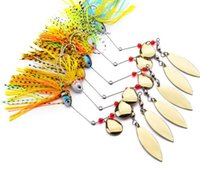 Wholesale Jig Flash Fishing - Metal Lure Wobblers Sinking Fishing Lure Spinnerbait Black Large Mouth Bass Fish Colorado Willow Blades Flash Chartreuse