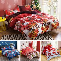 Wholesale Christmas Red Duvets - 3D Bedding Set Christmas Santa Claus Bed Sheets Duvet Cover Pillowcase Designer Home Textile Fashion Red Blue