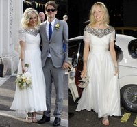 Wholesale Cheap Jenny Packham Wedding Dresses - Jenny Packham Cheap Beach Wedding Dresses 2016 Bling Sequins with Short Sleeve Bateau A Line Ankle Length Charming Country Bridal Gowns
