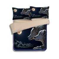 juegos de cama edredón rey al por mayor-Moon Black Wolf Juegos de cama con estampado de camas Twin Full Queen King Size Tela Algodón Ropa de cama Fundas nórdicas / edredones Fundas de almohadas Consolador Animal