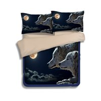 Wholesale Wolf Quilt Cover King Size - Moon Black Wolf Printing Bedding Sets Twin Full Queen King Size Fabric Cotton Bedclothes Duvet Quilt Covers Pillow Shams Comforter Animal