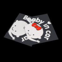 film kohlenstoff auto großhandel-3D Cartoon Auto Aufkleber Reflektierende Vinyl Styling Baby In Auto Erwärmung Auto Aufkleber Baby an Bord auf der hinteren Windschutzscheibe