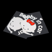 Wholesale carbon 3d cars online - 3D Cartoon Car Stickers Reflective Vinyl Styling Baby In Car Warming Car Sticker Baby on Board On Rear Windshield