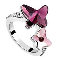 Wholesale White Gold Swarovski Crystal Ring - Korean Fashion Sweet Double Butterfly Crystal Rings 18k White Gold Plated Crystal from Swarovski Elements Ring For Women 6469