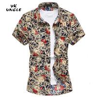 Wholesale Mens Beach Shirt Xl - Wholesale-2016 Summer Fashion Mens Short Sleeve Hawaiian Beach Printed Shirt Casual Floral Shirts For Men Plus Size M-6XL,YK UNCLE