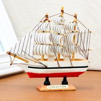Wholesale Pirate Boats - 10PCS Handmade Wooden Ship Model Pirate Sailing Boats Toys For Children Home Decor not Removable