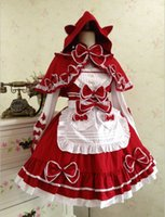 Wholesale Capes Costume Red Riding Hood - (LLT007) Little red riding hood cape maid Lolita dress bud silk condole belt dress restoring ancient ways