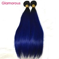 Wholesale Blue Hair Extensions Weft - Glamorous Brazilian Ombre Hair 3 Bundles Blue Ombre Human Hair Extensions Straight Body Wave Peruvian Indian Malaysian Hair Weaves Bundles