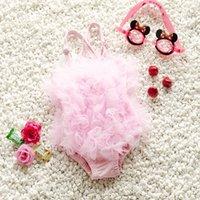 Wholesale Gauze Swimsuits - 2016 Summer children swimsuit baby Girls lace petals gauze suspender Siamese swimsuits baby kids beach swimsuit children one pieces 7393
