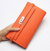 Wholesale New Arrival Women Long Wallet - New Arrival Luxury Wallets for Women High Quality Genuine Leather Card Holders Ladies Designer Long Purse Lock Wallet