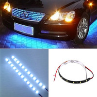 Wholesale Audi Led Strips - 15 LED 30cm Car Led Flexible Bulbs Waterproof Strip LED Lamp Vehicle Light Green Car Light Source parking 12V