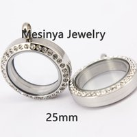 Wholesale Medium Stainless Steel Lockets - 10pcs magnetic women's 316L stainless steel 25mm medium crystal glass locket pendant for floating charms love note