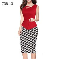 Wholesale Two Piece Fake Dresses - New Women Dress European and American fake two pieces V neck Print Bodycon Official dress splicing High Quality Hot Sale Pencil Dresses