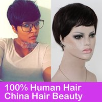 Wholesale Thick Lace Shorts - Thick Pixie Cut on Black Hair glueless full lace wigs brazilian wigs lace front cheap human wigs