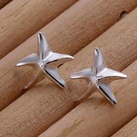 Wholesale Sapphire Sea Crystal - Free Shipping, Silver Plated Stud Earrings Wholesale Sea Star Stud Earring. E033