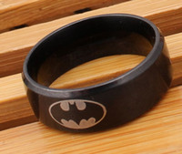 Wholesale Wholesale Batman Sign - new 20pcs black color batman sign stainless steel 8mm men's polished fashion top jewelry rings wholesale lots