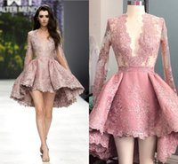Wholesale Hi Low Yellow Cocktail Dresses - High Low Blush Pink Short Cocktail Dresses Sheer Long Sleeves Prom Party Gown Lace Applique Sexy Plunging Deep V Neck Satin Dress BA1069
