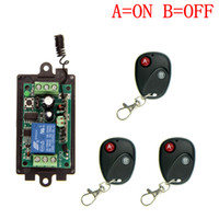 Wholesale Remote Control 433 Mhz - DC 9V 12V 24V 1 CH 1CH RF Wireless Remote Control Switch System,315 433 MHZ 3 X Transmitter + Receiver,Latched (A=ON B=OFF)