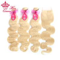 sınıf 5a saç demetleri toptan satış-Kraliçe Saç Ürünleri 4 adet / grup Brezilyalı Bakire Saç Vücut Dalga 5A Sınıf İnsan Saç Dantel Demetleri ile Kapatma, ağartılmış # 613 Sarışın