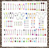 16g spikes achat en gros de-100pcs / set Body Piercing Assorted Mix Lot Kit 14G 16G Ball Spike Curved Sexy-Belly Rings Ear Tongue Pirring Barbell Bars ombligo