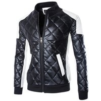Wholesale Locomotive Jackets - US size Fashion Brand Designer Men Leather Locomotive Jacket Coat Motorcycle Stand Collar PU Jacket Male Outdoor Jacket