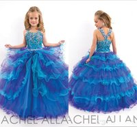 Wholesale Kids Colorful Ball Gown - 2016 Colorful Cheap Ball Gown Girl Pageant Dresses Tulle Kid Flower Girls Dresses Rhinestone Princess Lovely Little Girls Pageant Dresses