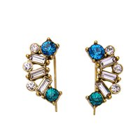 Barato Bejeweled Atacado-Multi Color Stone Bejeweled Antique Gold Baroque Earring Stud 1 ParAAA Rhinestone Factory OEM ODM Atacado Mininum Order USD50