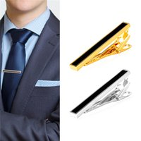 Wholesale Mens Clip Ties - New 18K Gold Plated Platinum Plated Black Enamel Mens Shirt Hinged Tie Clip Tacks Clothing Jewelry