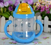Wholesale Baby Centre - Wholesale- 280ml Cute Baby Bottle Kids Children Learn Feeding Drinking Water Straw Handle mamadeira Sippy Training Baby Feeding Bottle