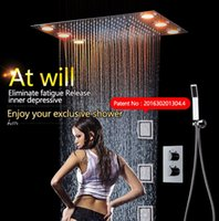 Wholesale Remote Controlled Spray - Rainfall LED Shower Head Set 3 spray LED Lights &Handshower Remote control color 3 Way Temperature Thermostatic Mixer Bathroom 360*500mm