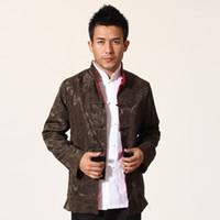 chaqueta de kung fu xxl al por mayor-Caída-Brown Satén de seda rojo Chaqueta reversible de Kung Fu Estilo chino Abrigo de dos caras Tendencias nacionales Tang Suit Talla M L XL XXL XXXL MN07