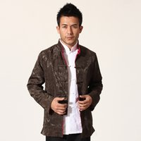 Wholesale Coats Chinese Collars - Fall-Brown Red Silk Satin Reversible Kung Fu Jacket Chinese Style Two Sided Coat National Trends Tang Suit Size M L XL XXL XXXL MN07