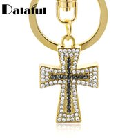 Wholesale lucky ring red - beijia Exquisite Crystal Cross Keyrings Keychains Chic Lucky Purse Bag Pendant For Car Women Key Chains Holder Rings K310