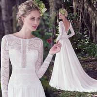 Wholesale Dhl Bridal Gowns - Vintage A-Line Long Sleeve Lace Wedding Dresses Backless Chapel Train 2017 Vintage Wedding Bridal Gowns Free Shipping DHL