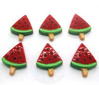 Wholesale Resin Red Watermelon Ice cream Flatback Cabochon Scrapbook x17mm