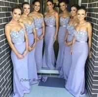 Wholesale Lilac Strapped Bridesmaid Dresses - Free Shipping Elegant Lilac Long Bridesmaid Dress Mermaid Appliques Maid of Honor Dress Vestidos de Noiva Fast Shipping
