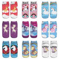 Wholesale Cutting Print - 3D Printed Unicorn Socks Cute Unicorn Pattern Ankle Socks Low Cut Ankle Sock Funny Ankle Cotton Socks 15 Styles OOA2990