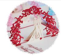 dulces tarjetas de felicitación al por mayor-100pcs / lot, tarjeta de felicitación hecha a mano dulce del decoupage tarjetas 3 D Pop-up gracias carda para las invitaciones de la boda